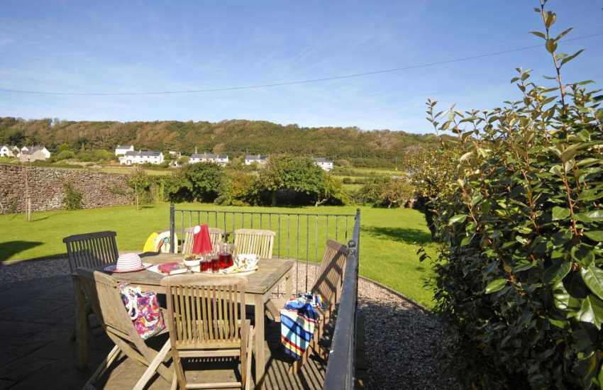 Pet friendly Grade II listed house, Dale - patio overlooking the enclosed gardens