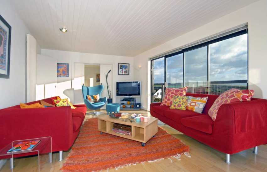 Solva family holiday home on the Pembrokeshire coast - living room with sea views