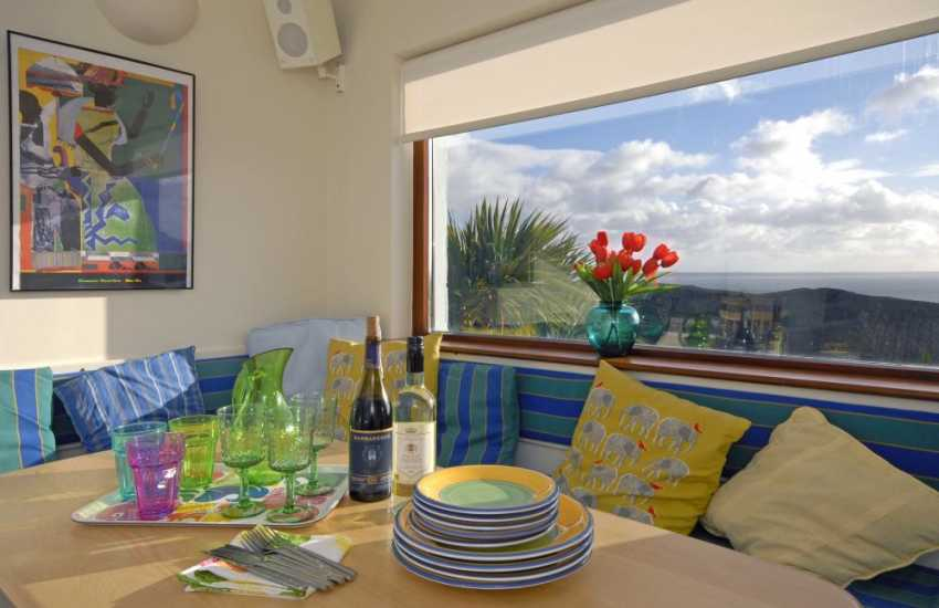 Solva self catering holiday home - dining area overlooking St Brides Bay