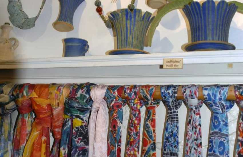 Solva Pottery - hand painted silk batik cushion covers, ties, scarves, cards and beautiful handmade pottery are all made on the premises by Bobbie Jacobs