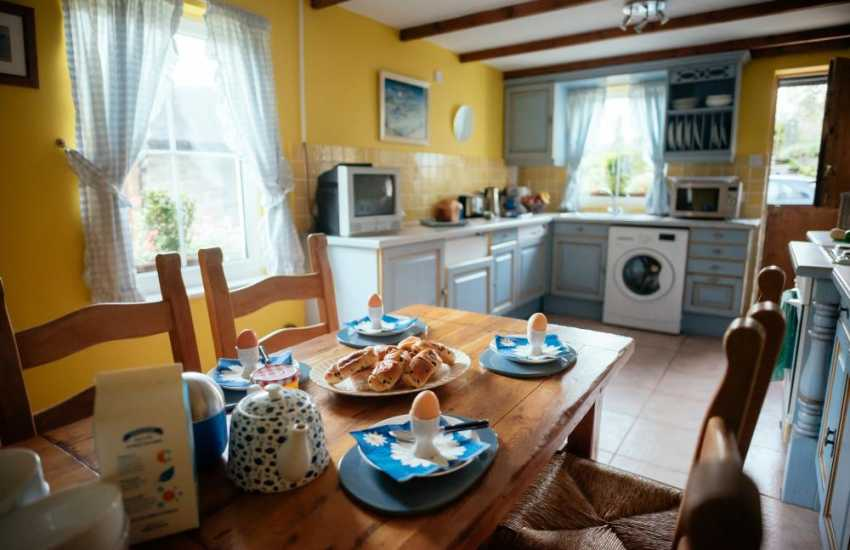 Dining area in holiday cottage on the Gower