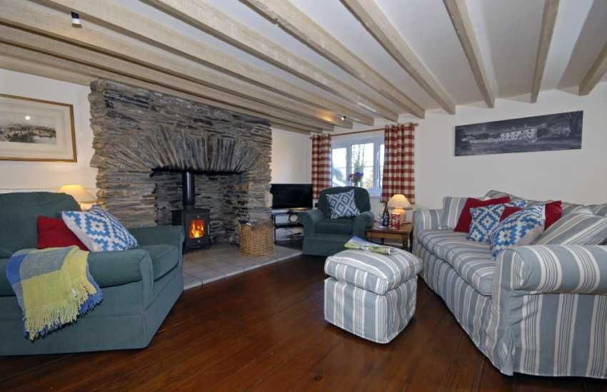 Newgale Pembrokeshire holiday home - cosy sitting room with inglenook and log burning stove