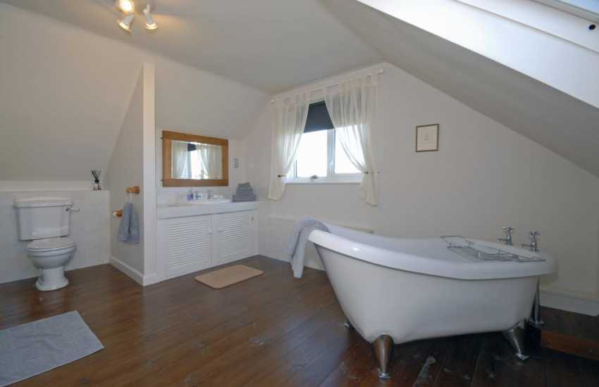 North Pembrokeshire holiday house - family bathroom with roll top bath and separate shower