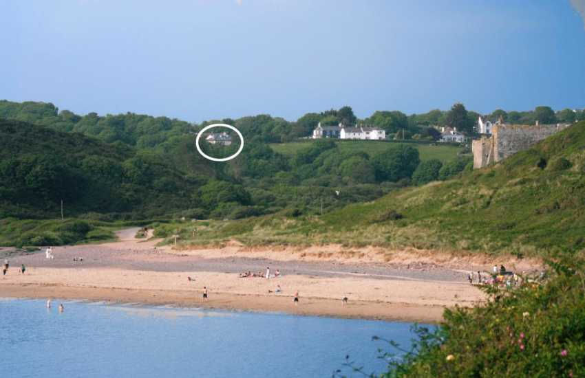 What a location for a holiday above Manorbier Beach