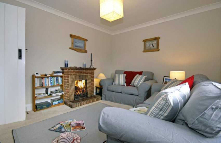 Dale holiday home - living room with open fire