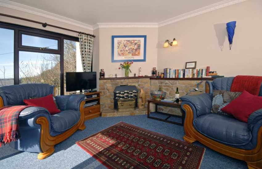 Cardigan Bay Heritage Coast holiday bungalow - comfy lounge with sea and valley views