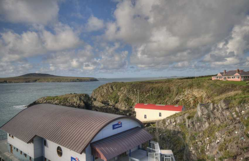 Views of Ramsey Island from St Justinians' lifeboat station's - Island cruises start from the slipway here