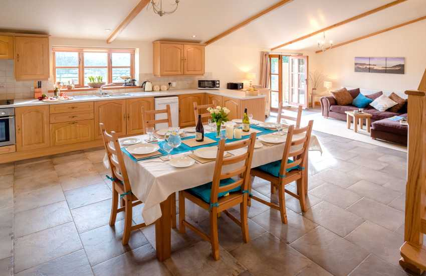 Barn conversion for holidays - dining area