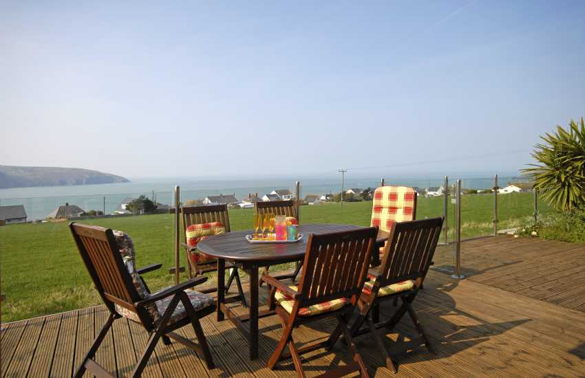Teifi Estuary house - deck with hot tub and panoramic sea views