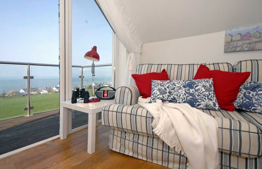 Coastal Cardigan home - first floor sitting room with sea views