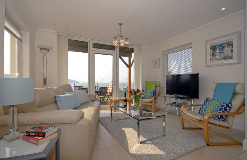 Cardigan Bay holiday house lounge with sea views
