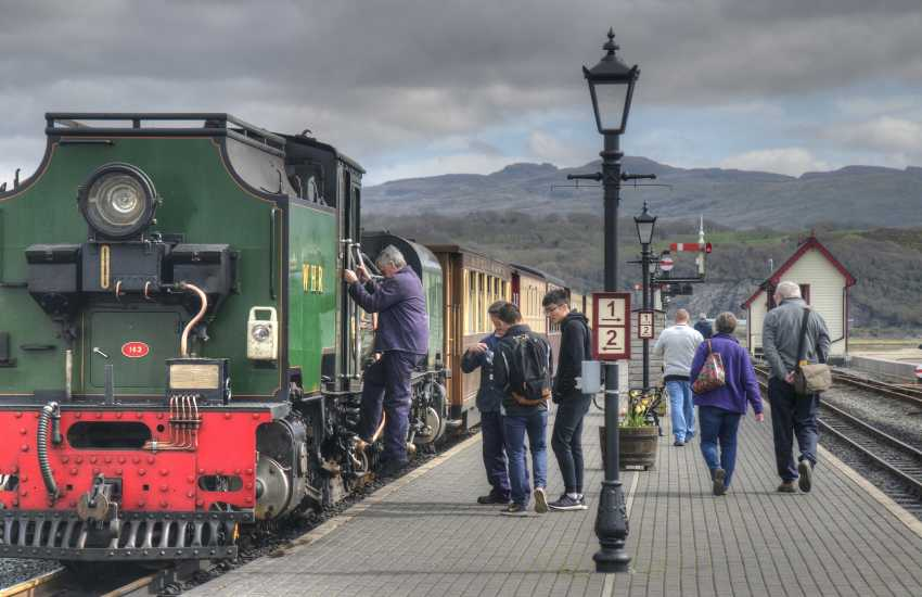 The Ffestiniog and Welsh Highland Railways stretch for 40 miles through the glorious Snowdonia National Park, allowing you to experience the magnificent scenery in comfort whilst savouring the romance of gleaming steam engines and carriages
