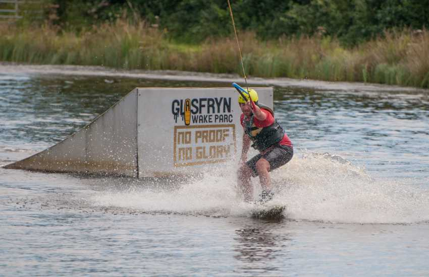 Wake-boarding at Glasfryn Parc family activity centre