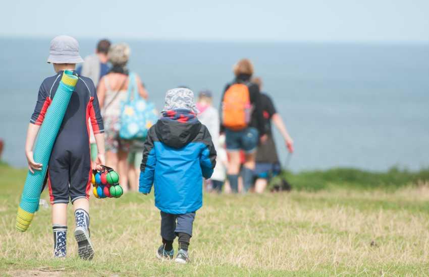 Families head for Tudweiliog beach