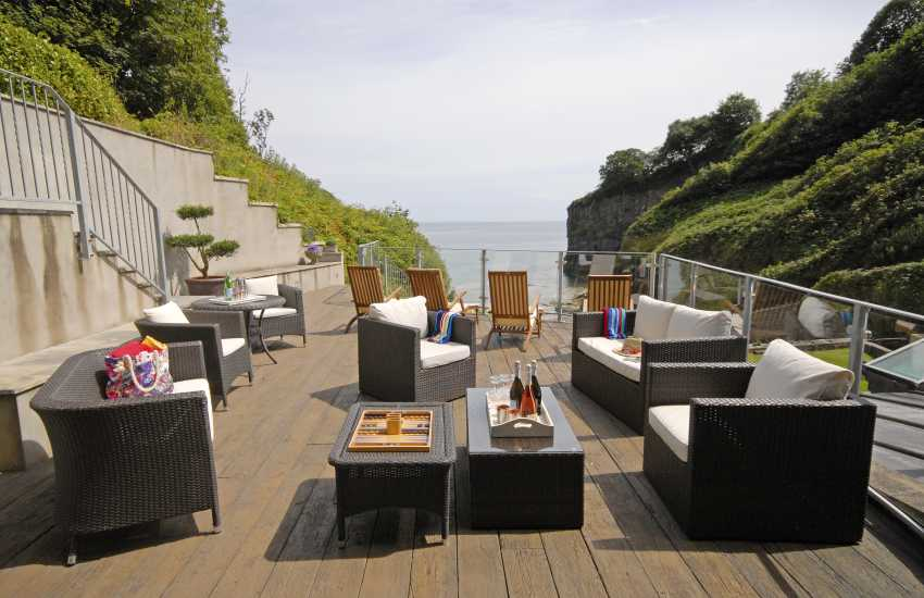 Deck area overlooking Waterwynch Beach