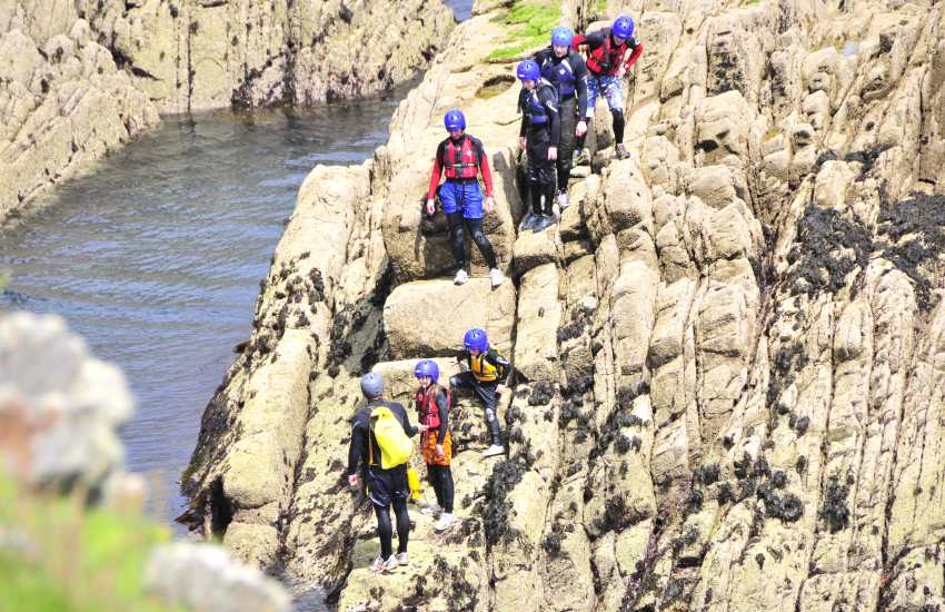 'Jump Bros Coasteering' offer the thrilling experience of jumping from high rocks into the sea along the Pembrokeshire coast