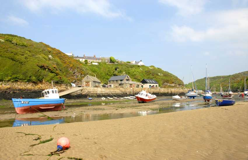 Walk Solva's sandy foreshore at low tide to sheltered Gwadn Cove