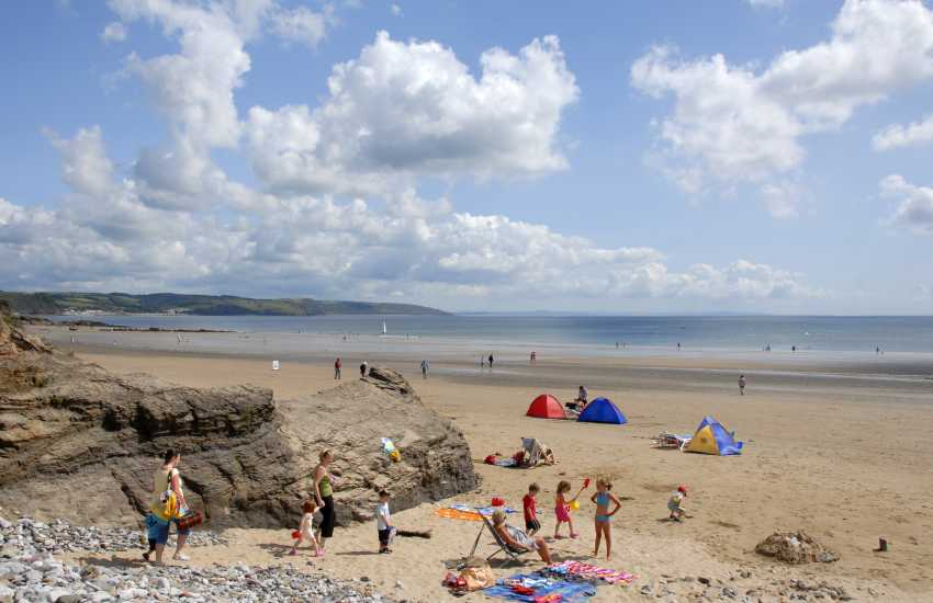 Saundersfoot Beach (Blue Flag) is a wide flat sandy beach at low tide, great for all kinds of ball games
