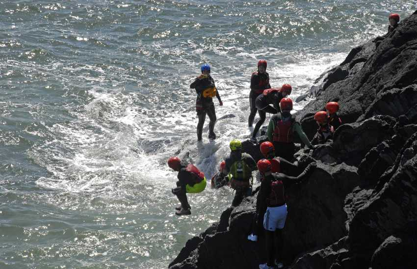 Celtic Quest Coasteering offer the thrilling experience of jumping from the rocks into the sea near Abereiddy