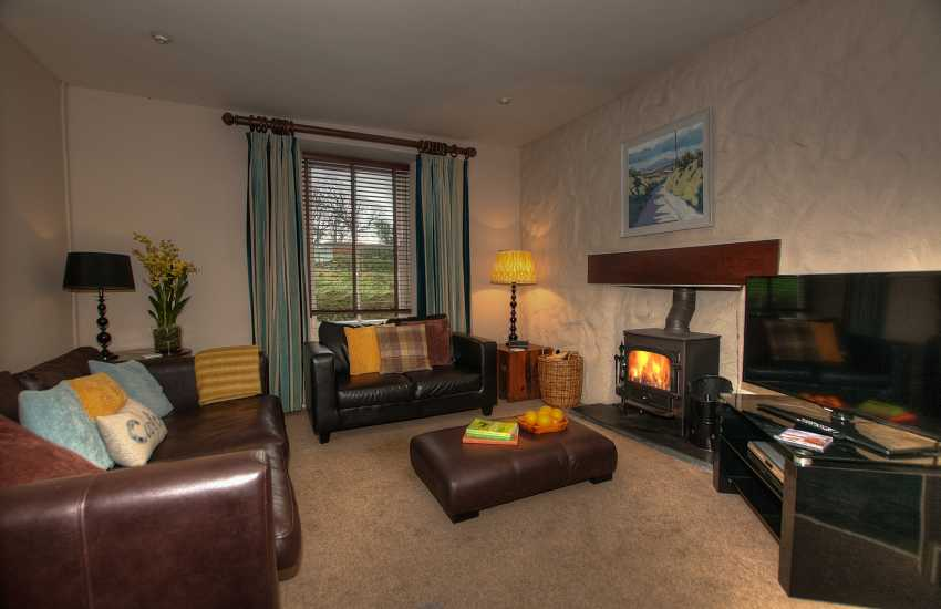 St Davids, Pembrokeshire holiday cottage - lounge with log burning stove