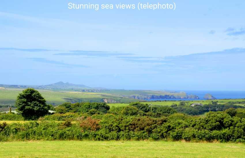 Panoramic views to Aberbach, Abermawr and Mynydd Morfa. (telephoto).