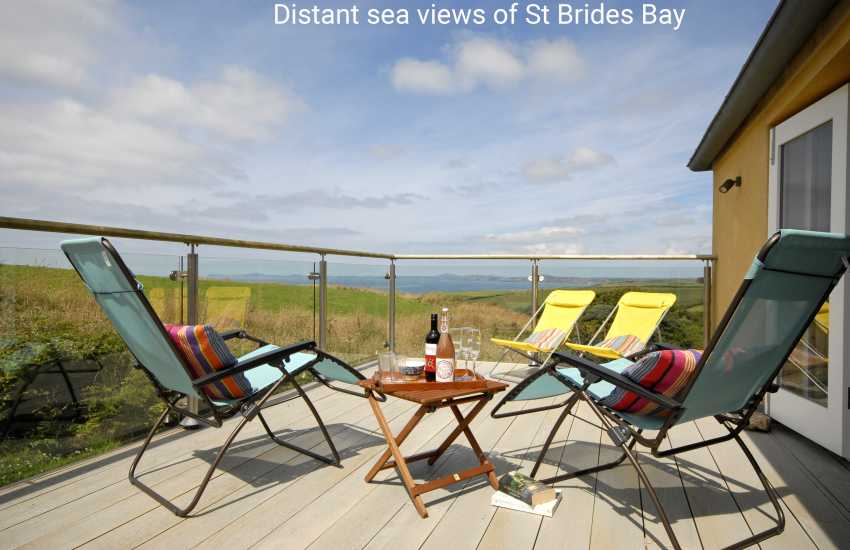 Enjoy breathtaking views of the St David's Peninsula and St Brides Bay from the first floor deck