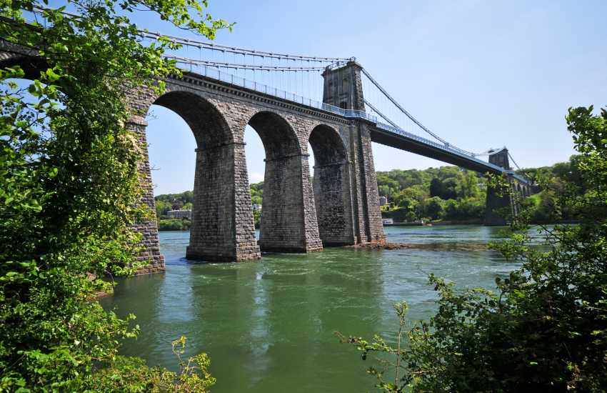 Iconic Menai Bridge linking Anglesey to the mainland