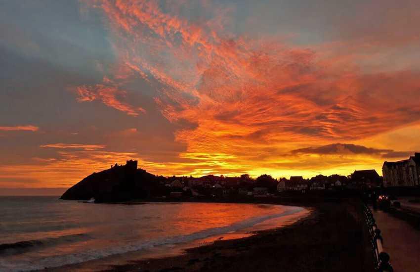 Sunset over Criccieth beach
