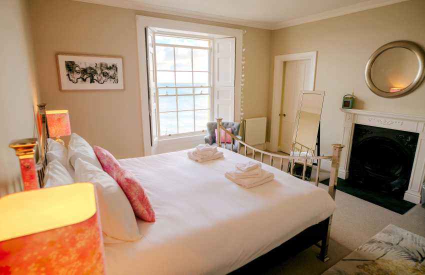 South Pembrokeshire large holiday house - super king size master bedroom with sea views