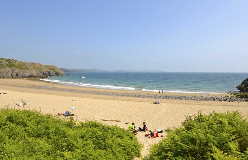 Barafundle Bay is a remote east-facing beach near Stackpole Quay, one of Pembrokeshire's best kept secrets