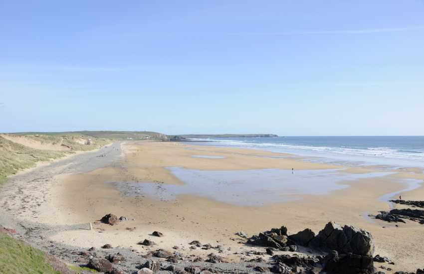 Freshwater West - one of Pembrokeshire's best surfing beaches backed by sand dunes and cared for by the National Trust