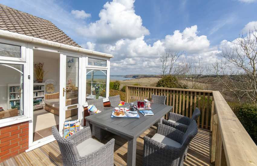 Little Haven holiday home - garden deck with views to St Brides Bay