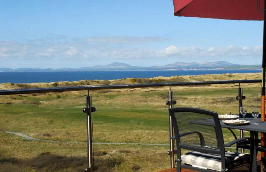 Views of the Lleyn Peninsular & Snowdonia from balcony of Tir Gafr - Harlech - sleeps 8