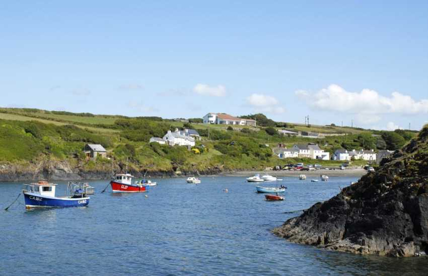 Abercastle sheltered little cove - popular for swimming, diving, kayaking and fishing