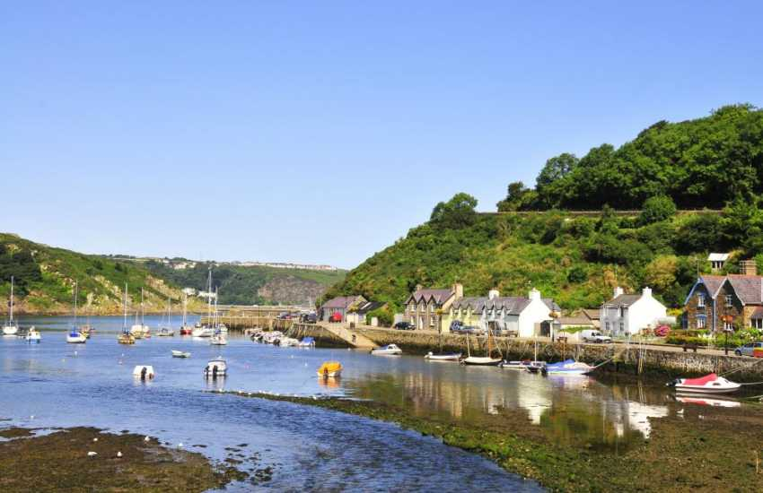 Fishguard's picturesque Lower Town harbour where the River Gwaun meets the sea