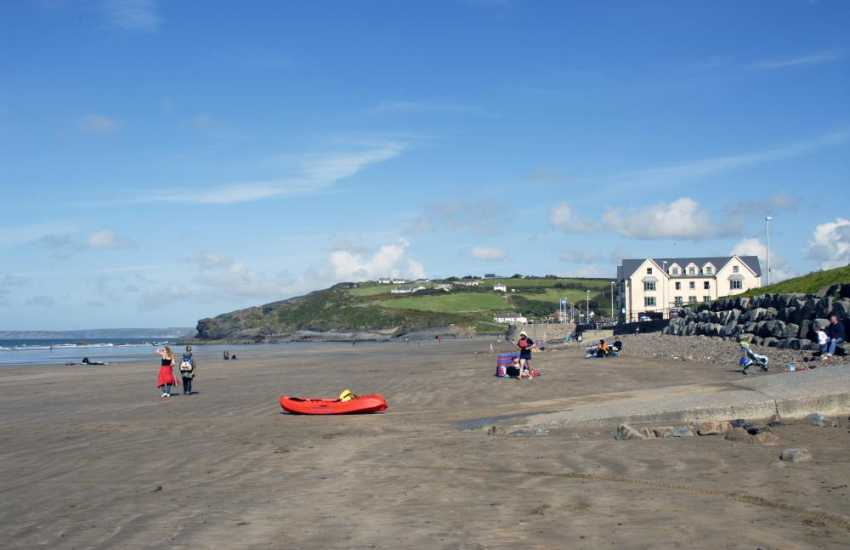 Broad Haven Beach (Blue Flag) is a glorious expanse of golden sand popular with families, water-sports enthusiasts