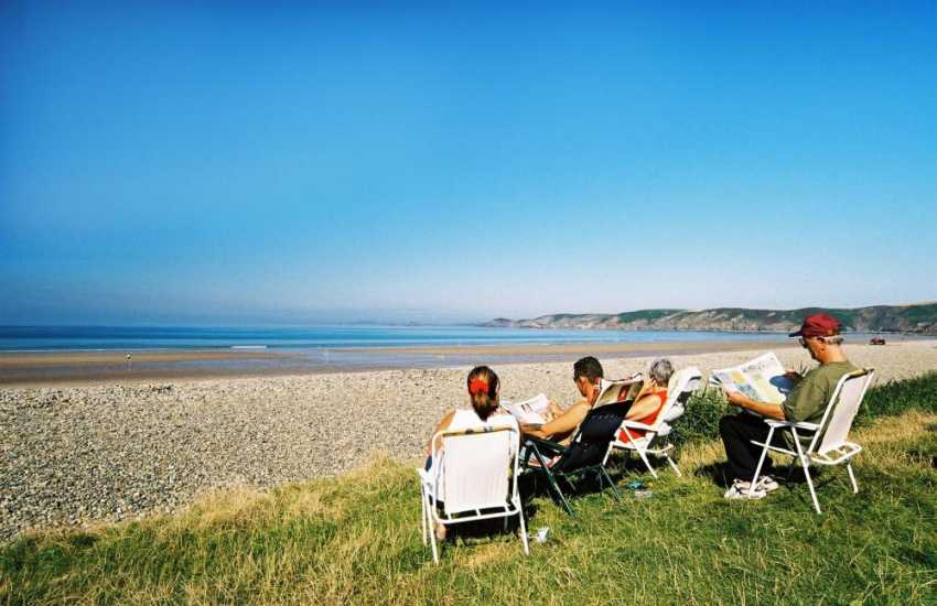 Relaxing at Newgale Beach (Blue Flag) - 2 miles of golden sands, popular with families and surfers