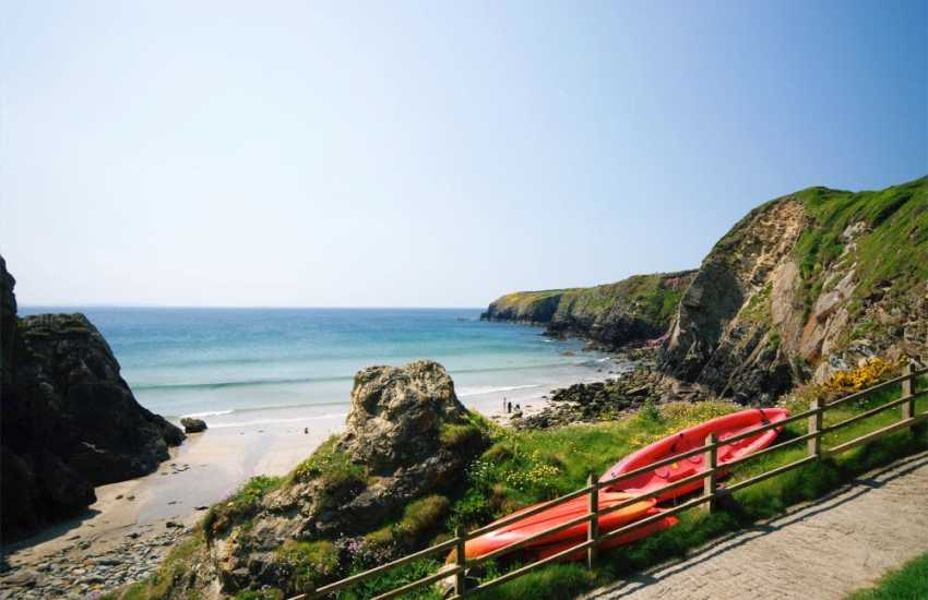 Caerfai Beach - a sheltered cove perfect for sand castles, rock pooling and only a short walk from St. Davids