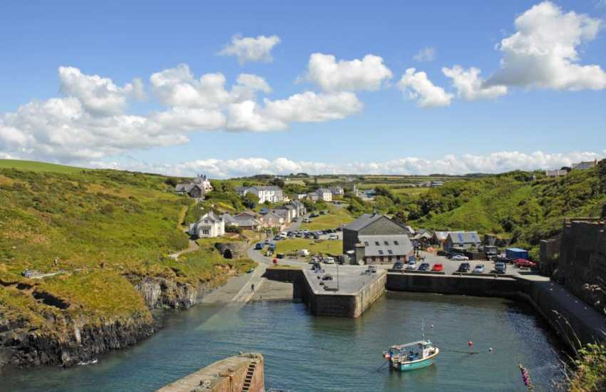 The sheltered, picturesque cove of Porthgain with it's family friendly pub The Sloop Inn and excellent fish and chip restaurant, The Shed