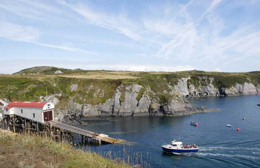 St Davids Lifeboat Station at St Justinians - the embarkation point for boat trips out into the bay and over to the RSPB Island of Ramsey