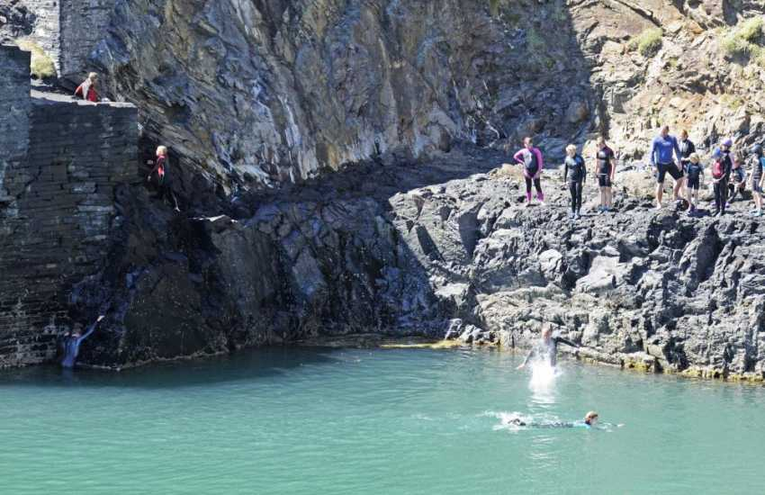 Coasteering at The Blue Lagoon at Abereiddy, entirely at your own risk!