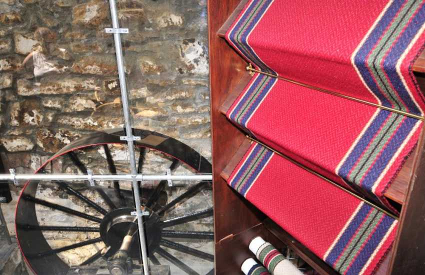 Nearby Solva Woollen Mill has a lovely shop with a tea room and specialises in flat weave carpets, floor rugs and striking   stair runners. Rugs for Llwynywormwood, Prince Charle's Welsh residence, were made here