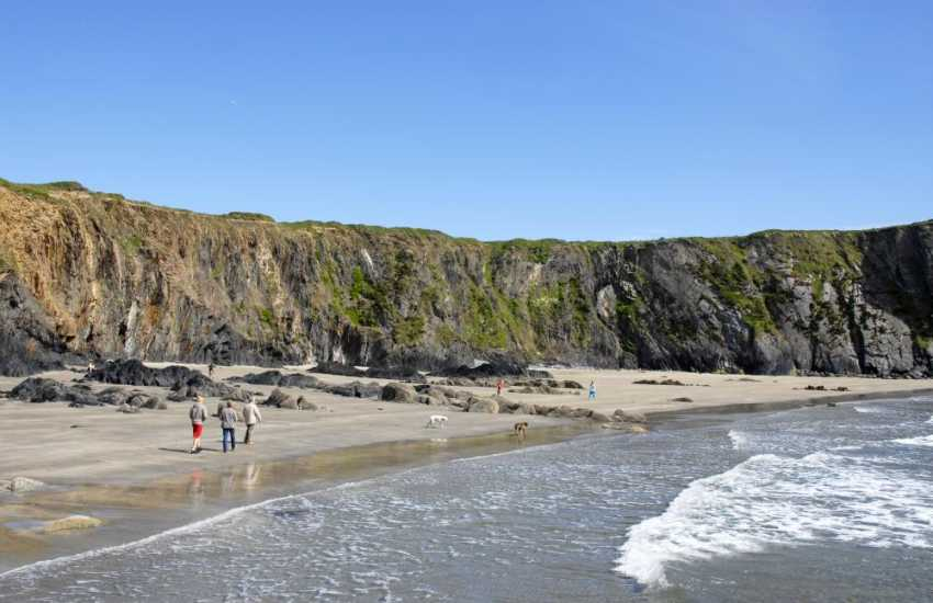 Traethllyfn Beach (NT) is a beautiful sandy beach on the coast between Abereiddy and Porthgain