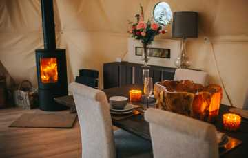 Tea lights and the flicker of flames in the log burner add to this geodome being romantic