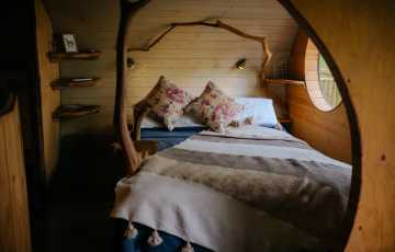 Hand carved tree branches are used in the double bedroom of this welsh family treehouse