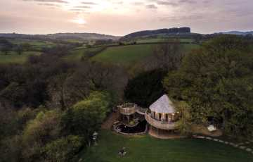 Trewalter treehouse aerial image showing its setting in the Breacon Beacons