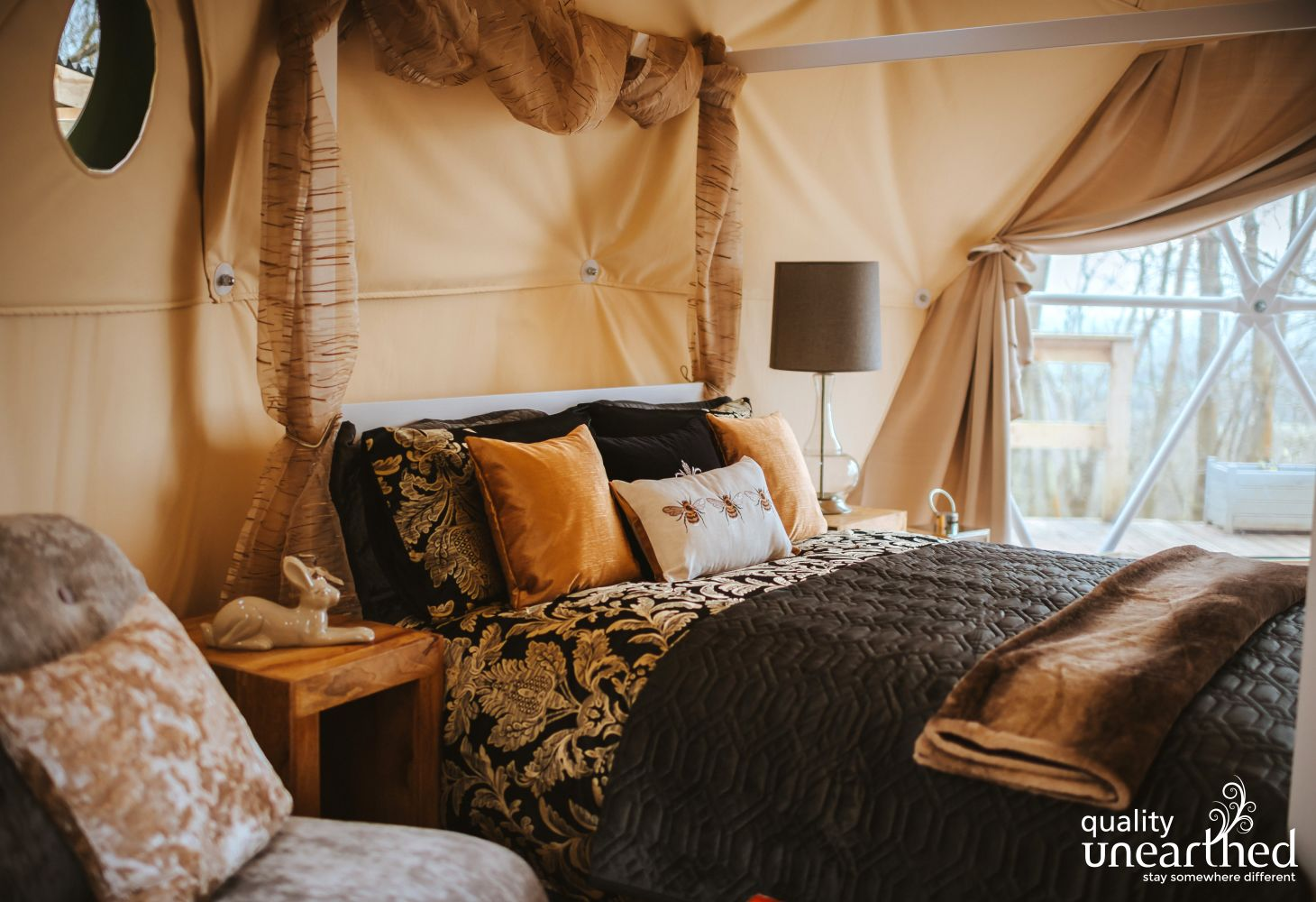 Sumptuous, rich bedding welcomes min 3 night stays in the summer at this perfect romantic geodome