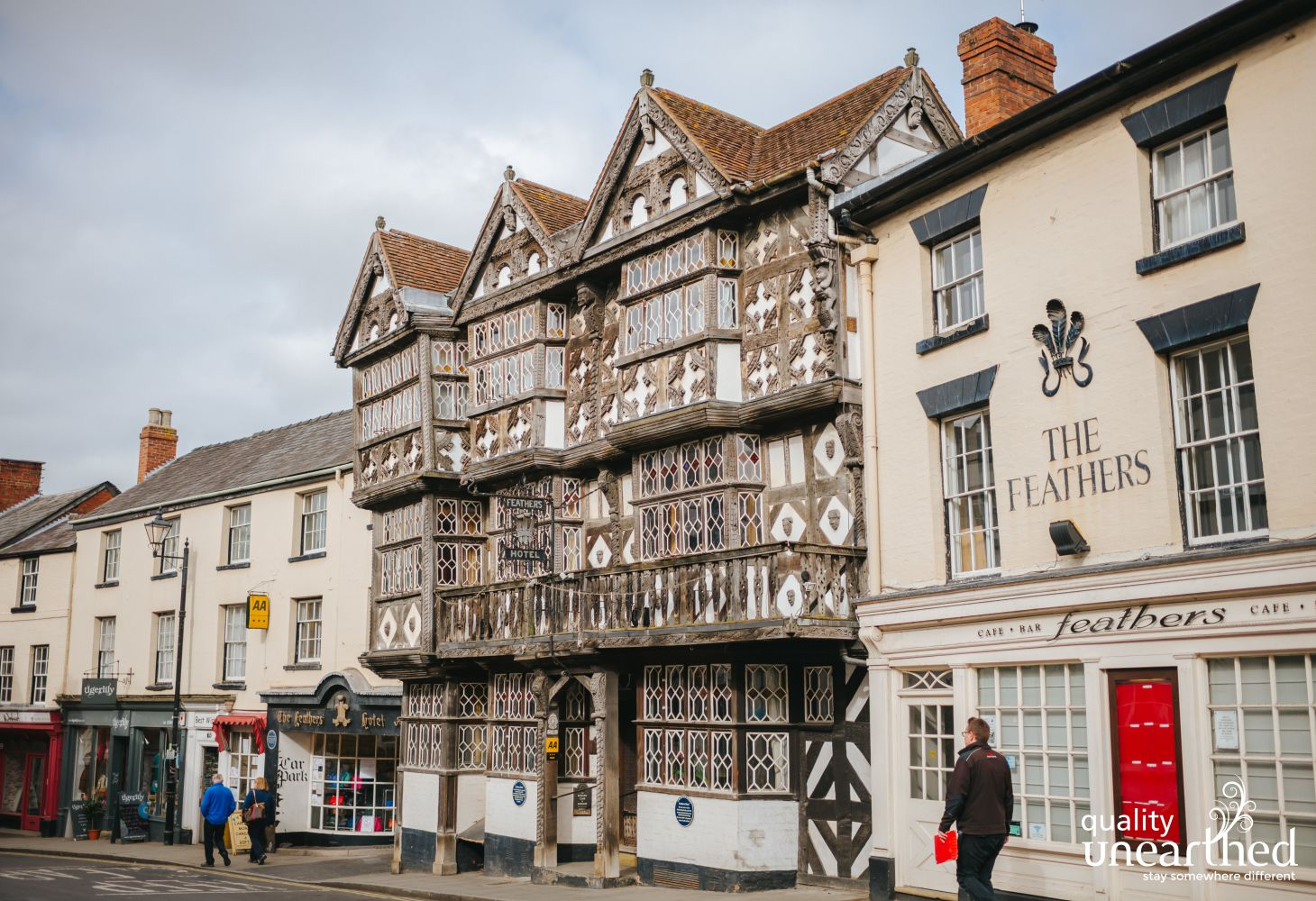 The Feathers Hotel in Ludlow is a fine example of a 16th century timber building