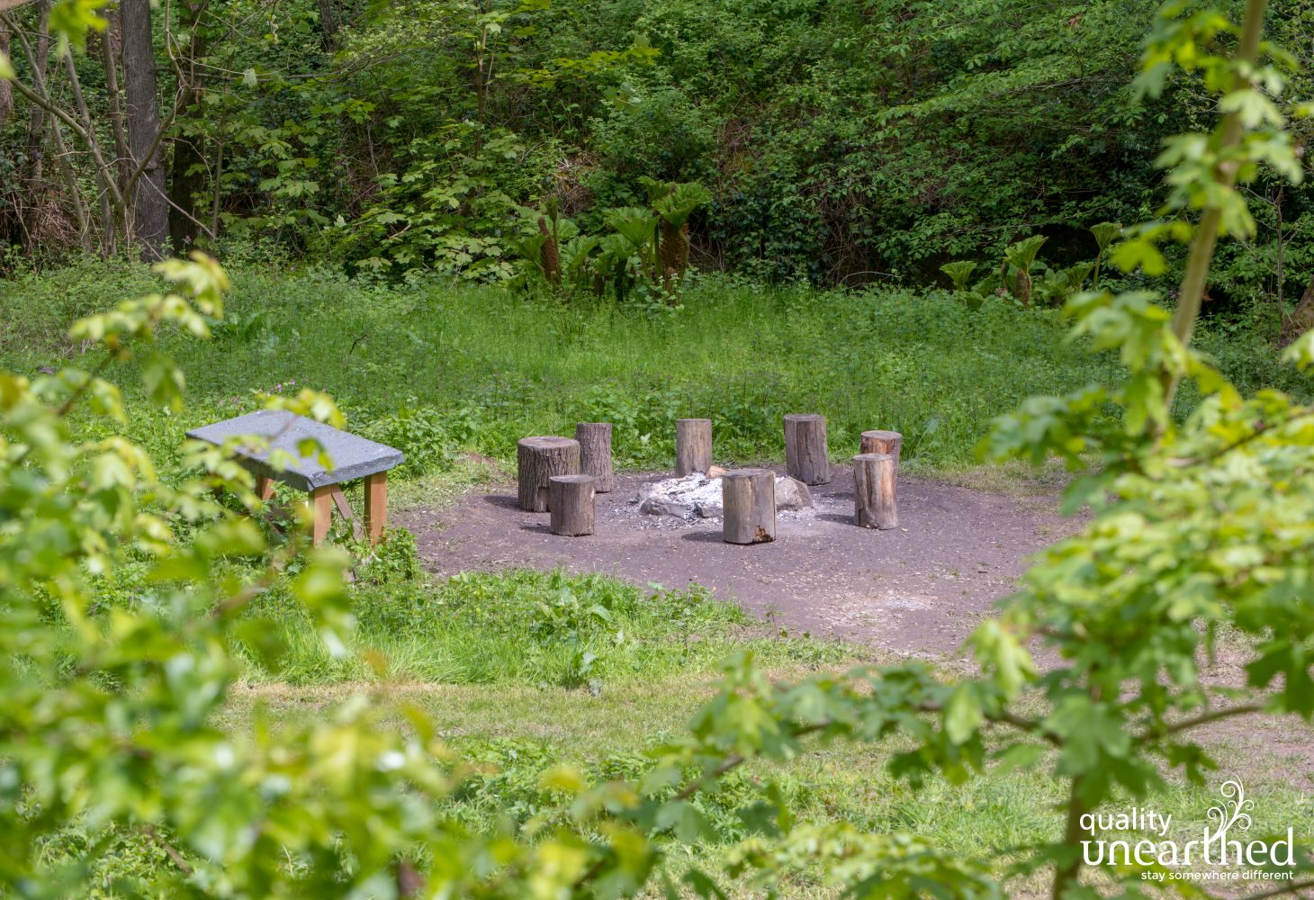 There is a communal fire pit, perfect for a group glamping holiday