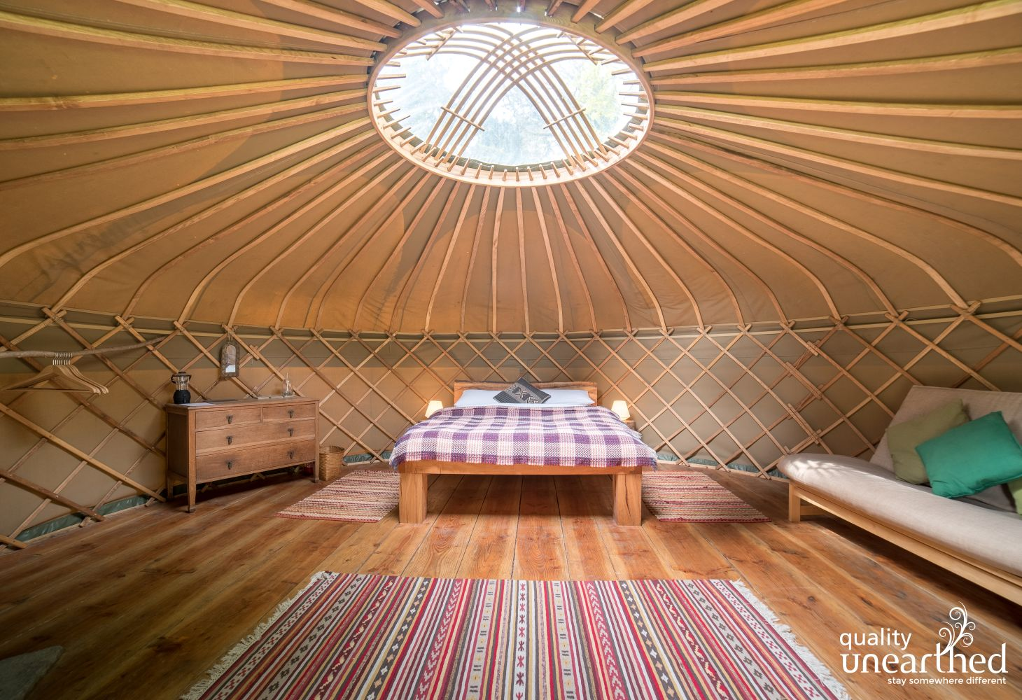 Star gaze from your handmade bed at Seren yurt for 5